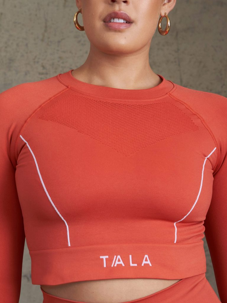 Coral long sleeved crop top from Tala - sustainable christmas gifts